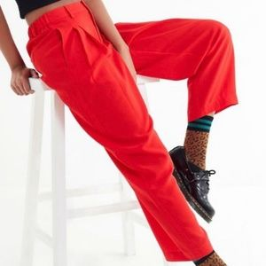 UO Arlo red pleated pants